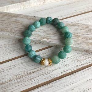 Handmade Green Crackled Agate Bracelet